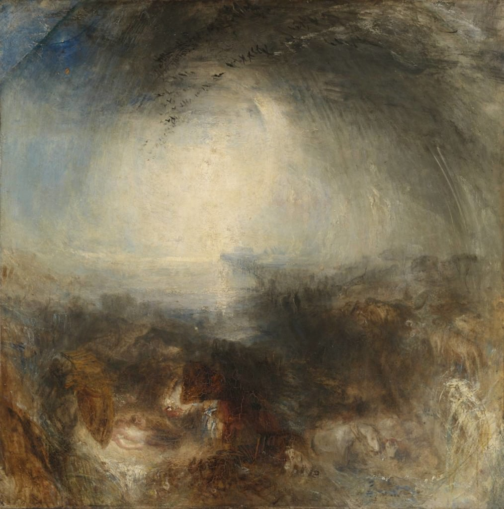 Shade and Darkness - the Evening of the Deluge exhibited 1843. Joseph Mallord William Turner (1775-1851). On display, the Tate Gallery, London.