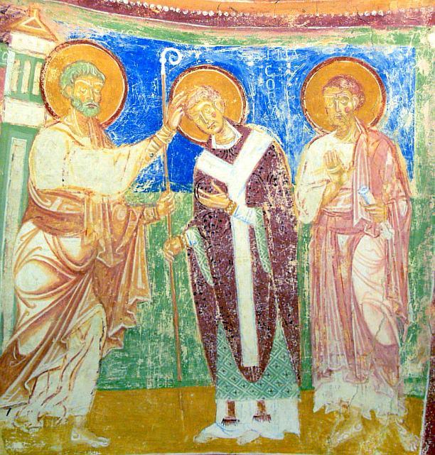 Aquileia Basilica Krypta Fresco Bischofsweihe  Hermagoras