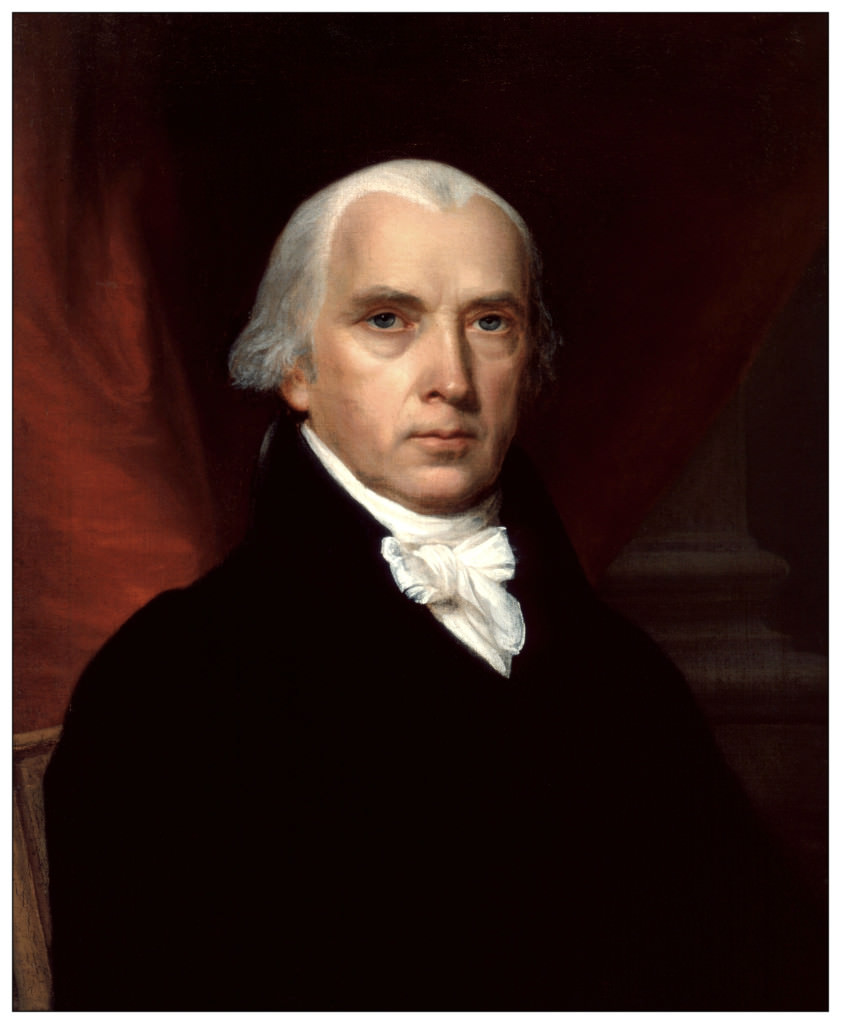 James Madison (1751-1836).  oil on canvas by John Vanderlyn (1775–1852). Creative Commons, Public Domain.