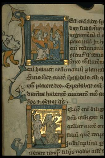 The Rothschild Canticles:Heb. 11:1. Two seated prophets pointing to clouds; Heb. 12:6. Northern France, C. 12 century.