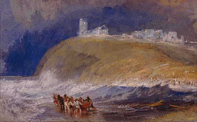 """Joseph Mallord William Turner (1775–1851); """"Dunwich;"""" c.1830; Watercolour and bodycolour on paper; Manchester City Galleries."""