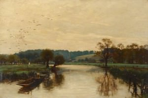 """""""Morning on the Kennet"""" by Alfred Parsons (1880)."""