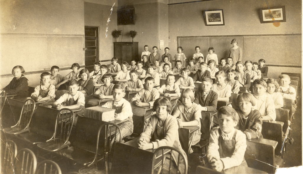 Photograph, circa 1920; American classroom, unknown.