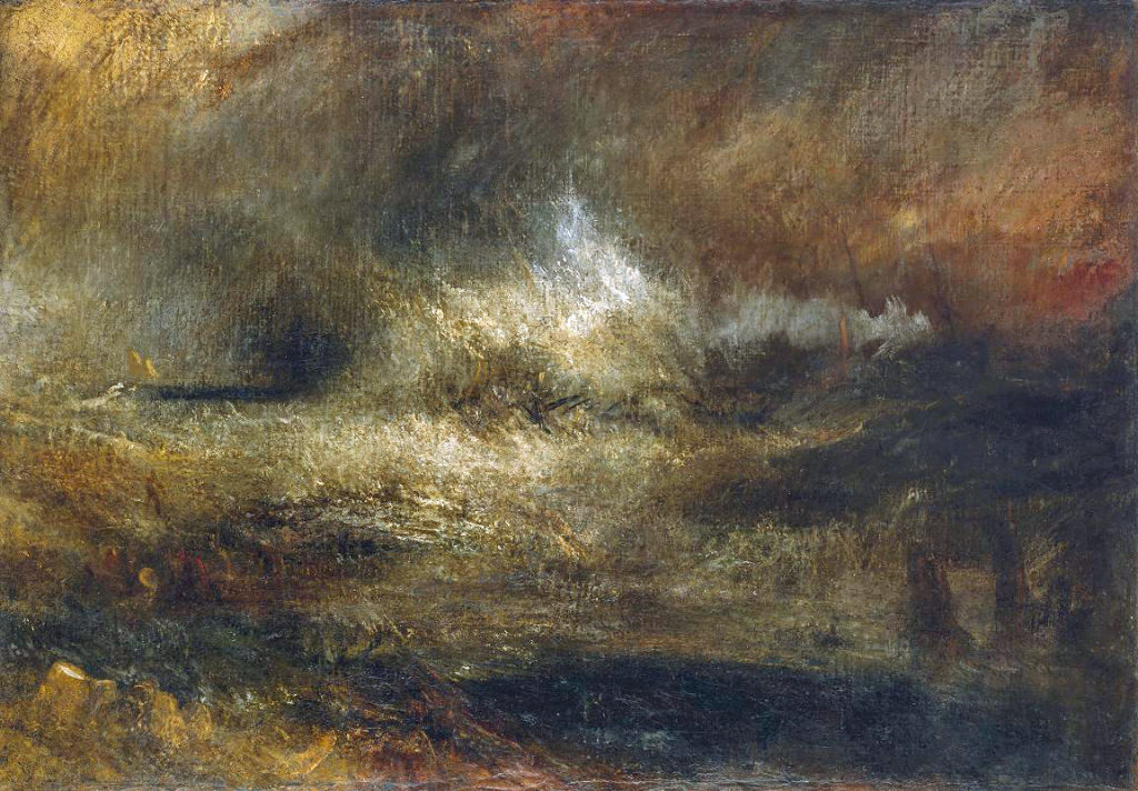 Storm Sea with Blazing Wreck, c.1835–40; Joseph Mallord William Turner (1775-1851), The Tate Gallery, London.