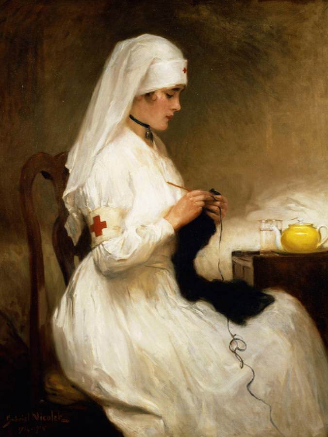 Portrait of a Nurse from the Red Cross by Niscolet, Gabriel Emile (1856-1921); French.