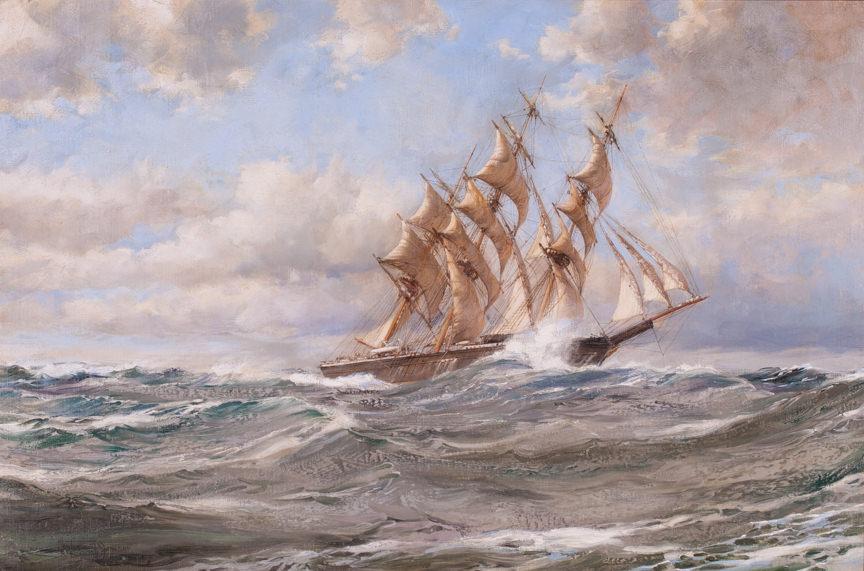 """The Clipper Blue Jacket"" by Montague Dawson British, (1895-1973). Oil on Canvas, Circa 1950. British Merchant Navy."