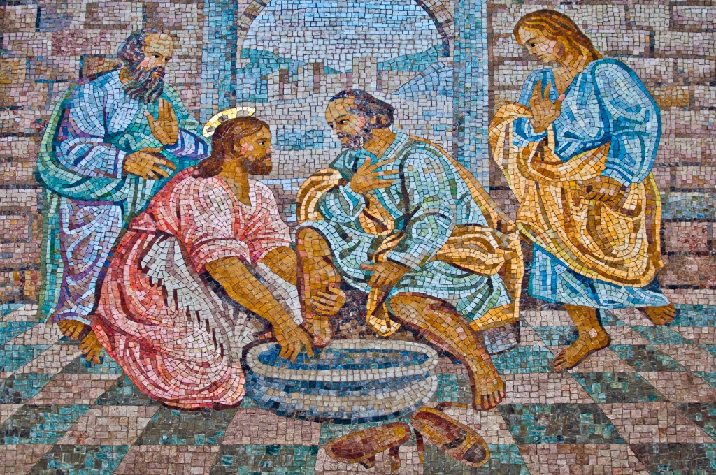 VATICAN CITY - SEPTEMBER 21: The Washing of the Feet mosaic in the St. Peter's Basilica on September 21, 2013 in Vatican City, Italy. One of the world's most visited sacred sites with 7 Million annual visitors.
