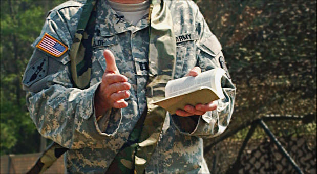 Army Chaplain with Bible.