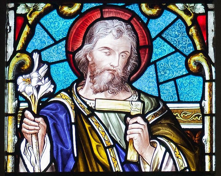 """Joseph,"" window in St. Mary's Church, Buttevant, County Cork, Ireland."
