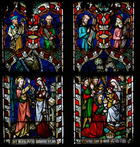 Stained glass window depicting the Annuciation and the Visit of the Three Magi, in the Cathedral of Saint Truiden in Limburg, Belgium.