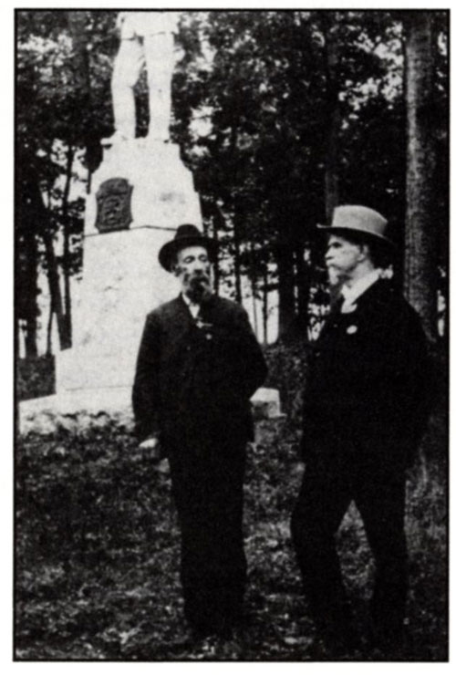LTC John Randolph Lane, 26th NC; and SGT Charles H. McDonnell, 24th Michigan, meet on 03 July 1903, Gettysburg, PA.