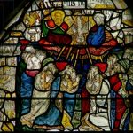 Window depicting the Pentecost (stained glass) by English School, (15th century); York Minster, Yorkshire, UK; English, out of copyright