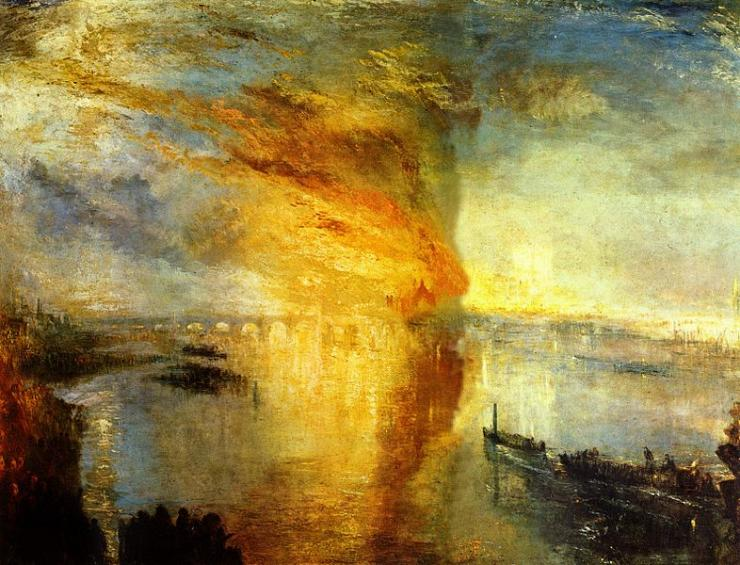 Joseph Mallord William Turner (1775–1851); The Burning of the Houses of Parliament; c. 1834–5.