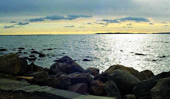 View from the harbor at Stonington, Connecticut.