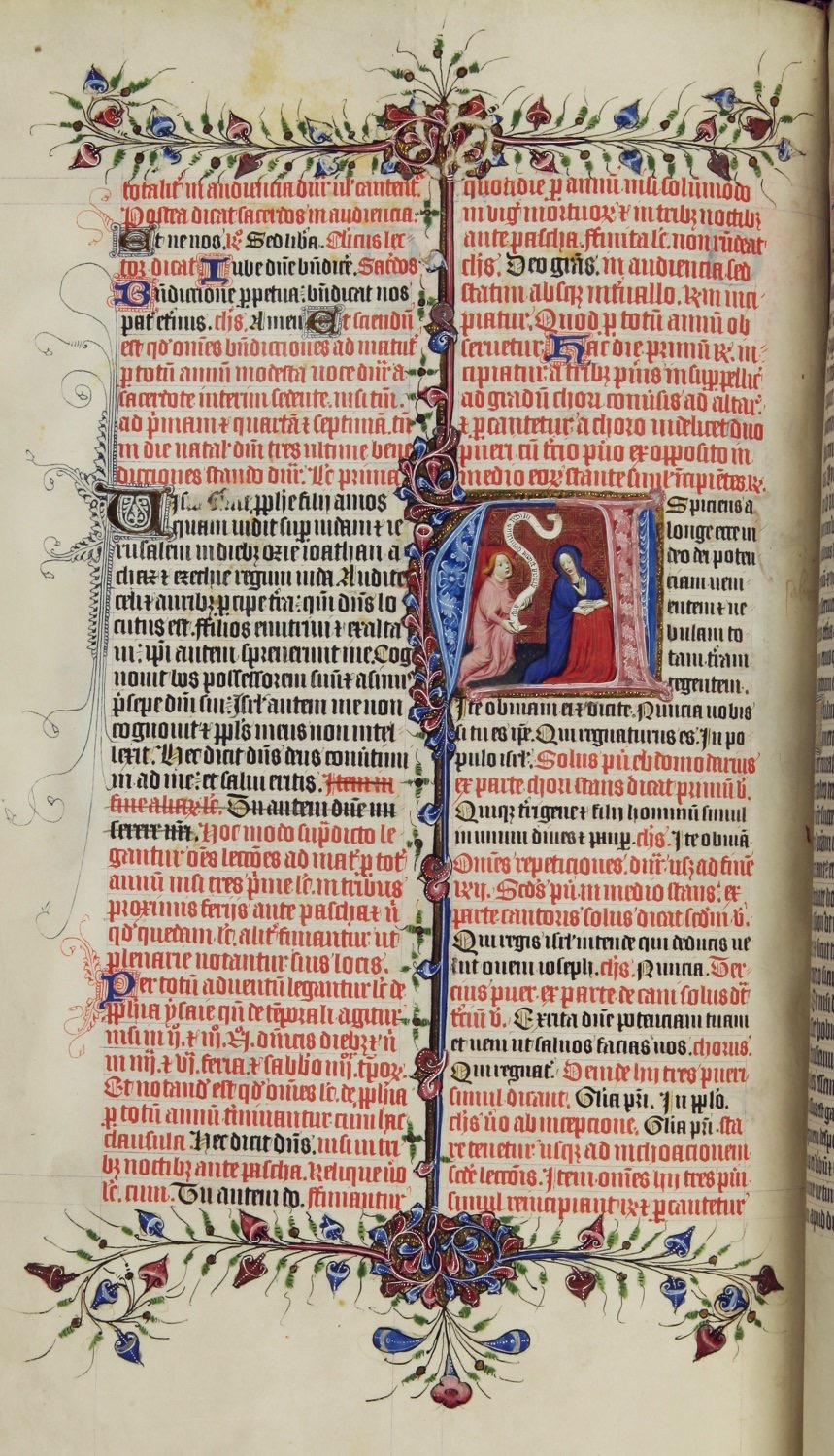 Image: Advent from the Chicheley Breviary with a decorated initial showing the Annunciation. [MS69 f.4v.]. Lambeth Palace Library.