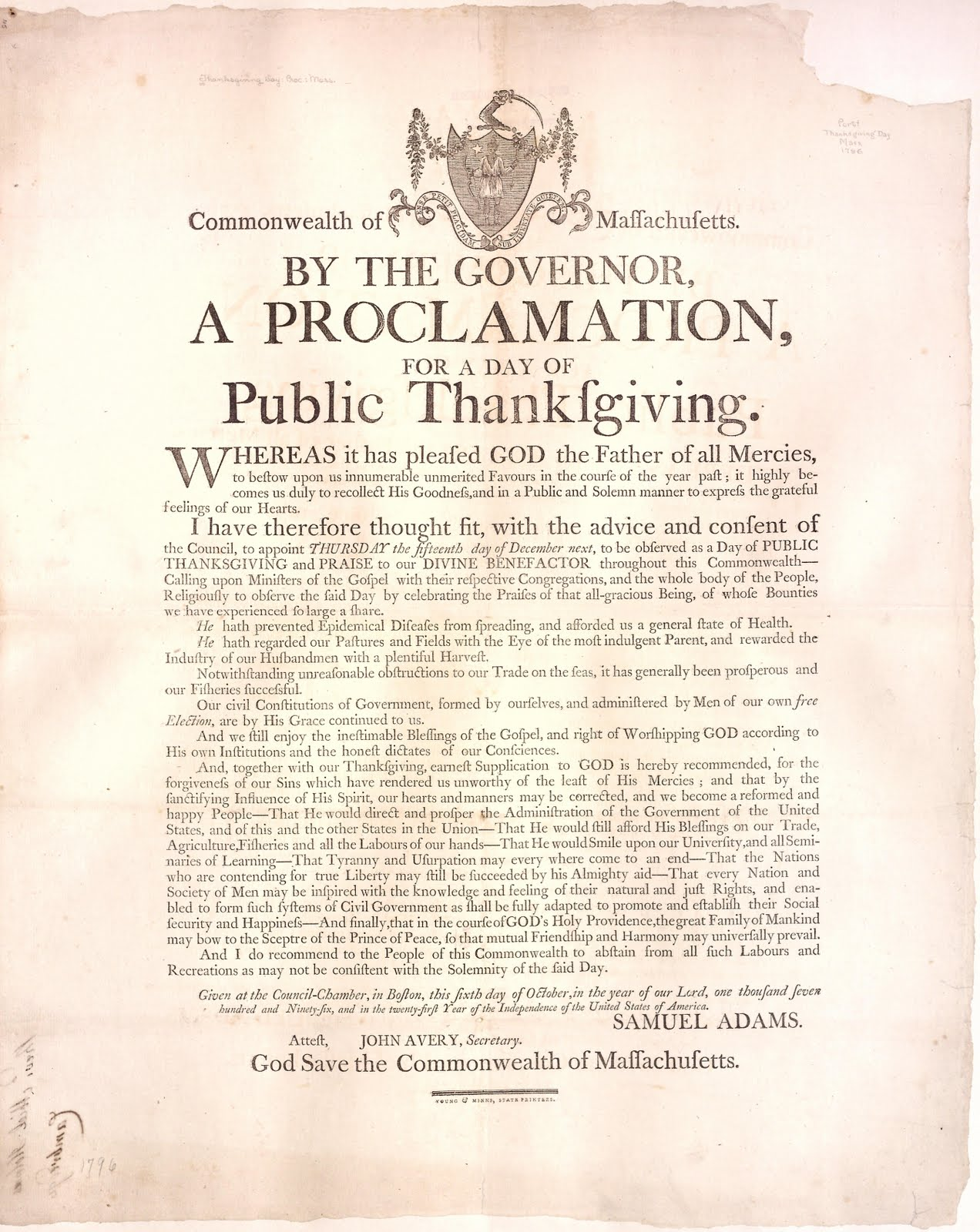 Thanksgiving Proclamation, Governor Samuel Adams, Massachusetts, 1796.