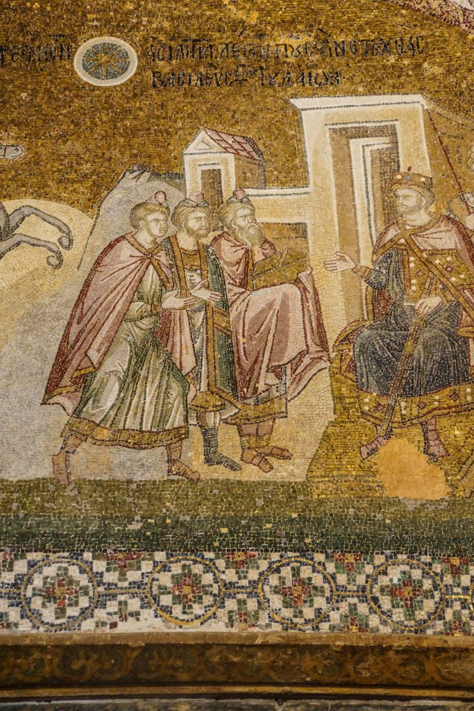 ISTANBUL, TURKEY - MAY 15, 2014 -Journey of the Magi, and arrival before Herod, mosaic, Outer Narthex, Chora Church (Kariye Museum) in Istanbul, Turkey